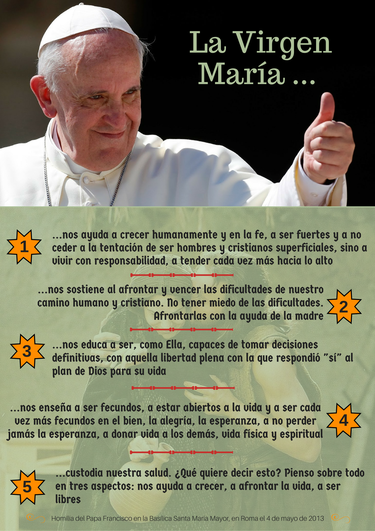 El papa Francisco sobre la Virgen Mara