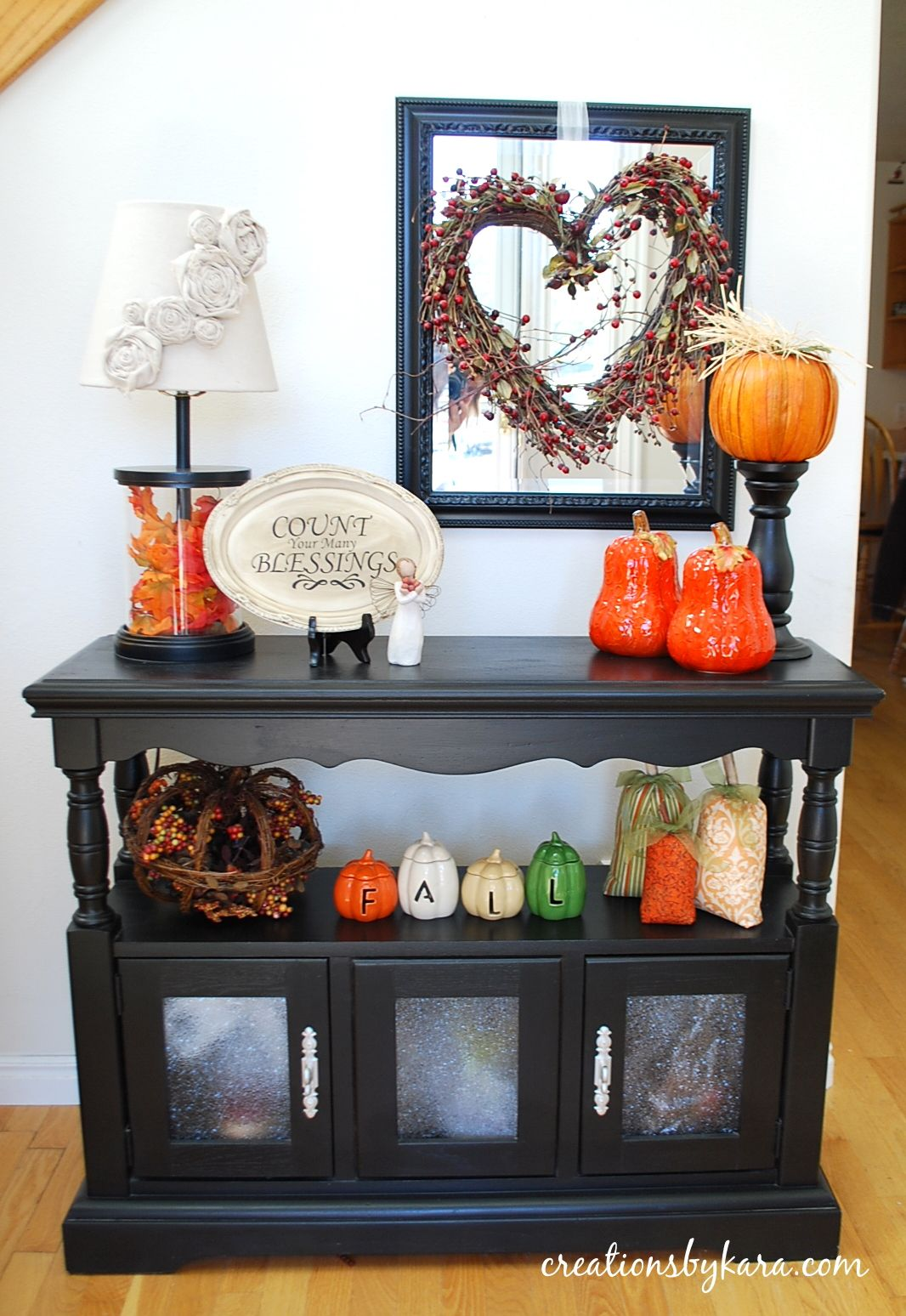 Entryway table decor fall home decor creations by kara Table entree design