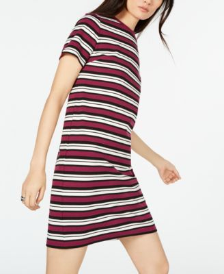 $141 Sangria striped dress for fall 2019. Collect this eye-catching dress crafted by michael      michael kors. The fabrics used to craft this dress are viscose and poly ester. This dress exhibits round neck neckline. Without a doubt the striped pattern makes the dress stands out. This dress can be considered for casual wear. The combination of shirt dress and tee dress styles promotes attention-grabbing outlook. Petite size is available.