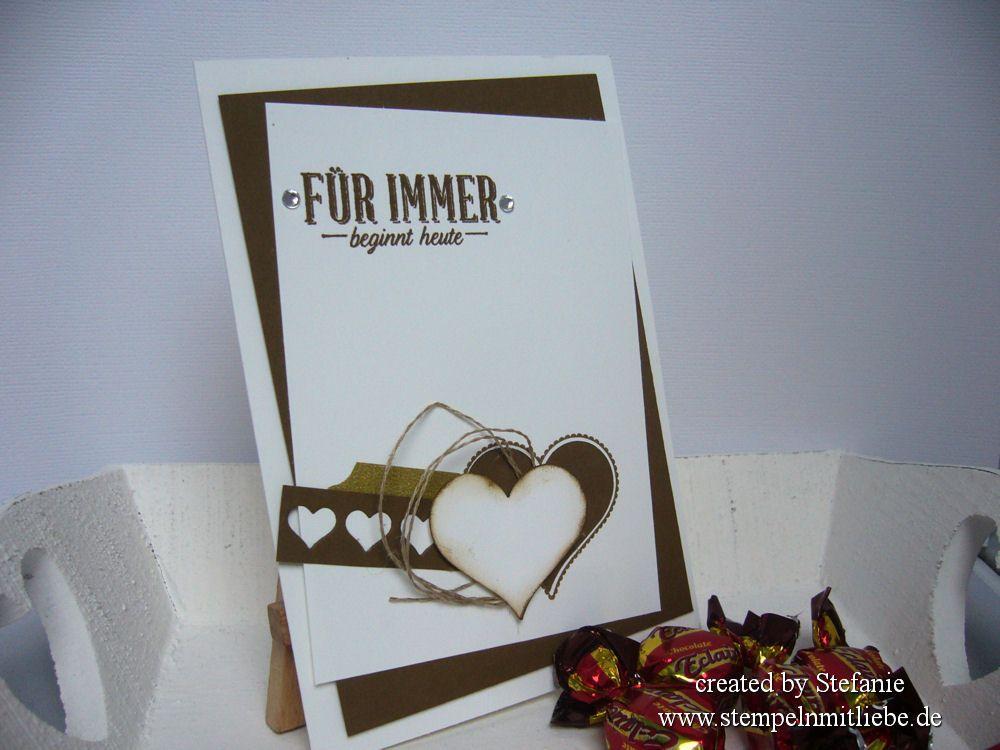 Stampin Up - Grusskarte - Wedding card - Hochzeitskarte - Schokobraun - Stanze Herzblatt  ♥ StempelnmitLiebe