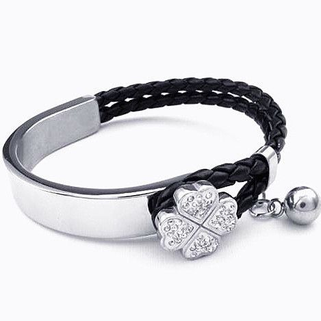 Bracelet, Modern Leather and Silver Clover