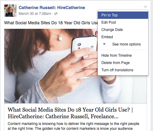 How to Pin a Post to Your Facebook Business Page Timeline