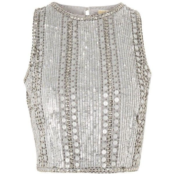 Evangeline Top By Lace Beads 21 455 Huf Liked On Polyvore Featuring Tops Blouses Metallic Sequin Beaded Crop Top Beaded Top Outfit High Neck Lace Top