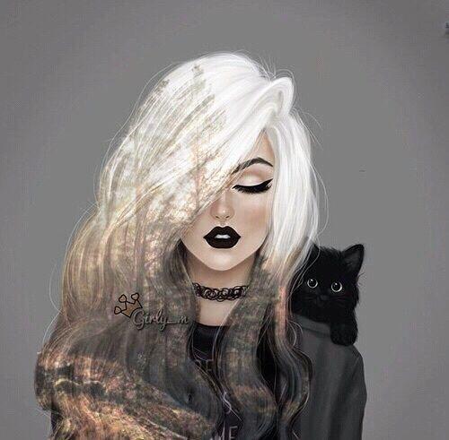 art, beautiful, black, cat, cool, cute, dark, drawing ...  art, beautiful,...