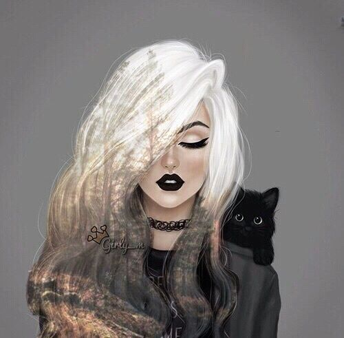 art, beautiful, black, cat, cool, cute, dark, drawing, forest, girl