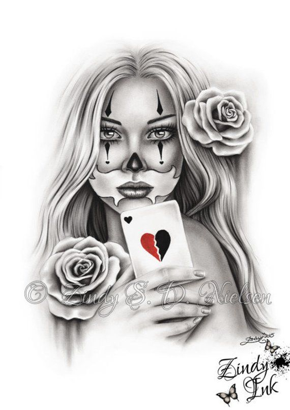 HeartBreaker Chicano Tattoo Clown Girl Playing Card Rose Heart Art Print Glossy Emo Fantasy Girl Zindy Nielsen