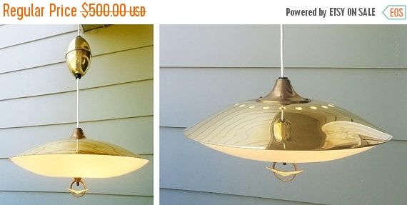 On Sale 1950 S Virden Mid Century Modern Saucer Pull Vintage Lighting Atomic Decor Mid Century Modern