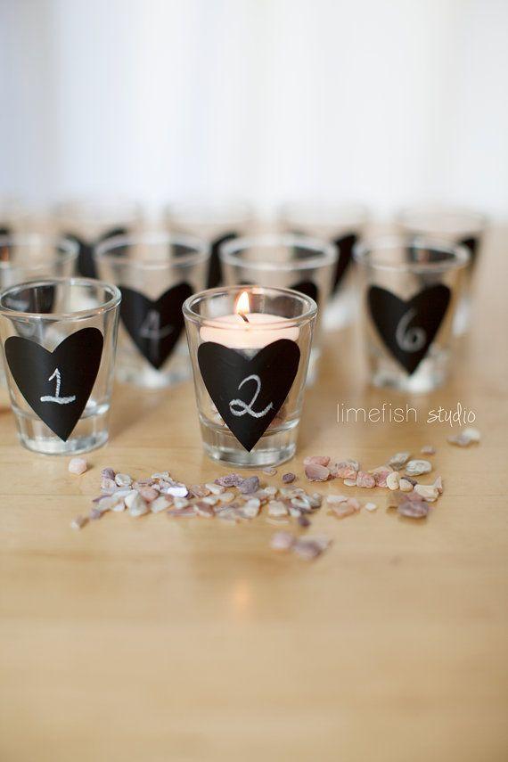 Chalkboard Heart Shot Glasses . Rustic Wedding Decor ...