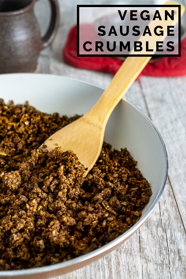 Vegan Sausage Crumbles Our Wandering Kitchen Recipe Vegan Sausage Crumbled Sausage Recipe Healthy Vegetarian Dinner