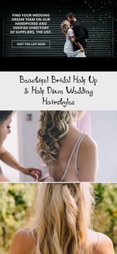 Schöne Braut halb oben u. Halb unten Hochzeits-Frisuren –  Twisted Half Up Half…