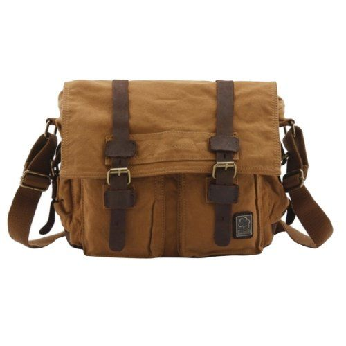S.C.Cotton Leisure Vintage Canvas Leather Shoulder Messenger Bag ...