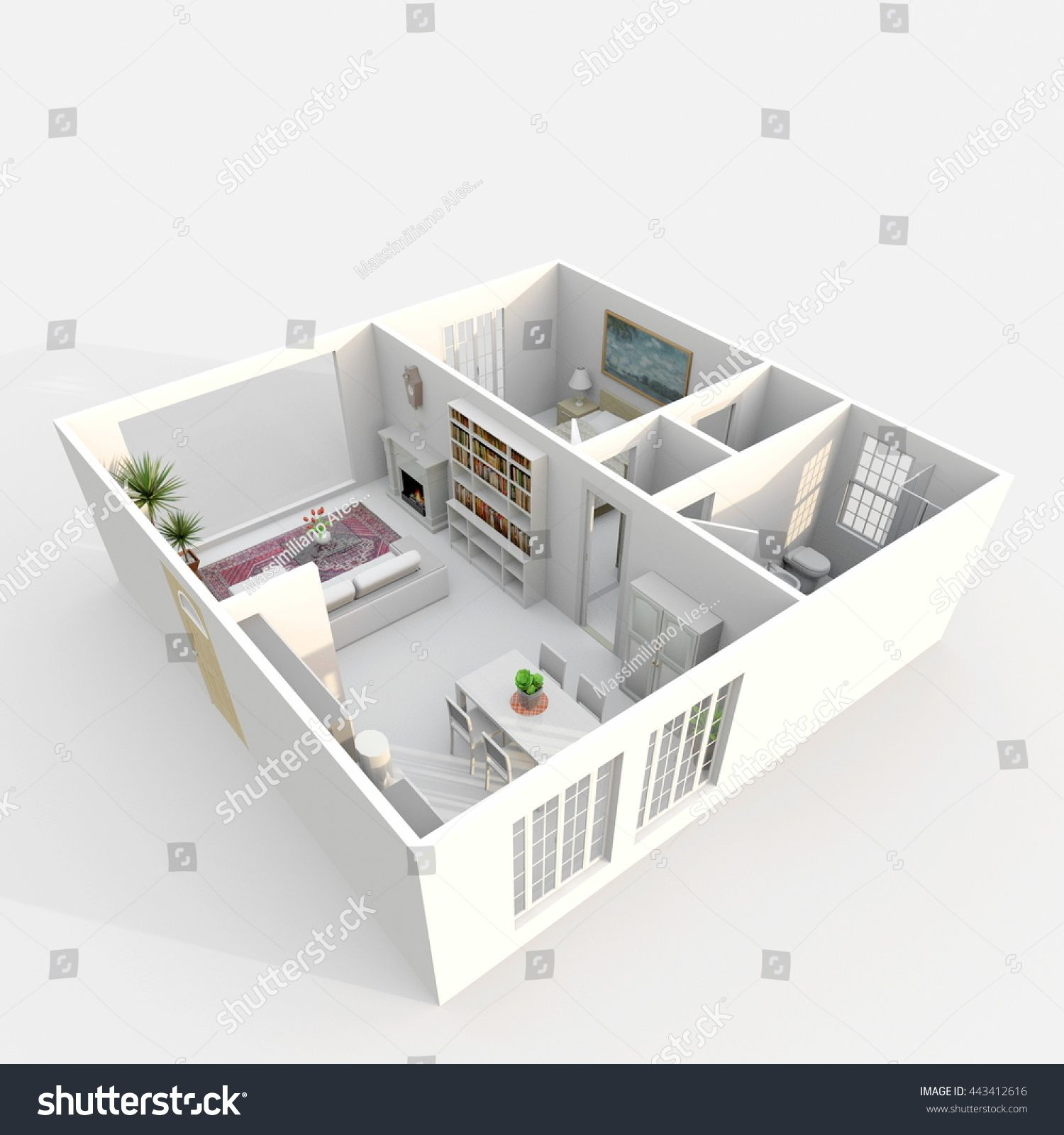 3d Interior Rendering Perspective View Of Furnished Home