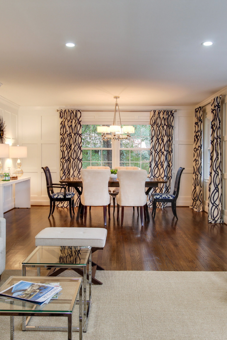 Open Concept Dining And Living Rooms With Black And White Curtains Interiordesign Familyroom Liv Living Room Drapes Curtains Living Room Family Room Windows #open #concept #dining #room #living #room