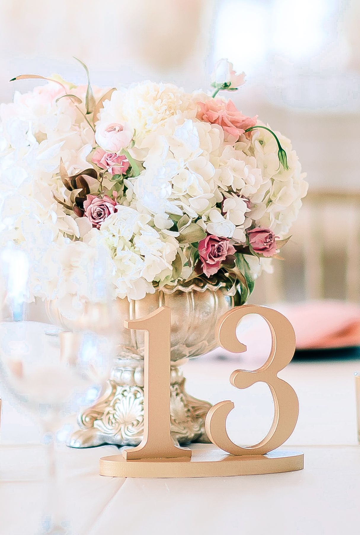 Painted Wedding Table Numbers in Metallic Rose Gold | Handmade ...