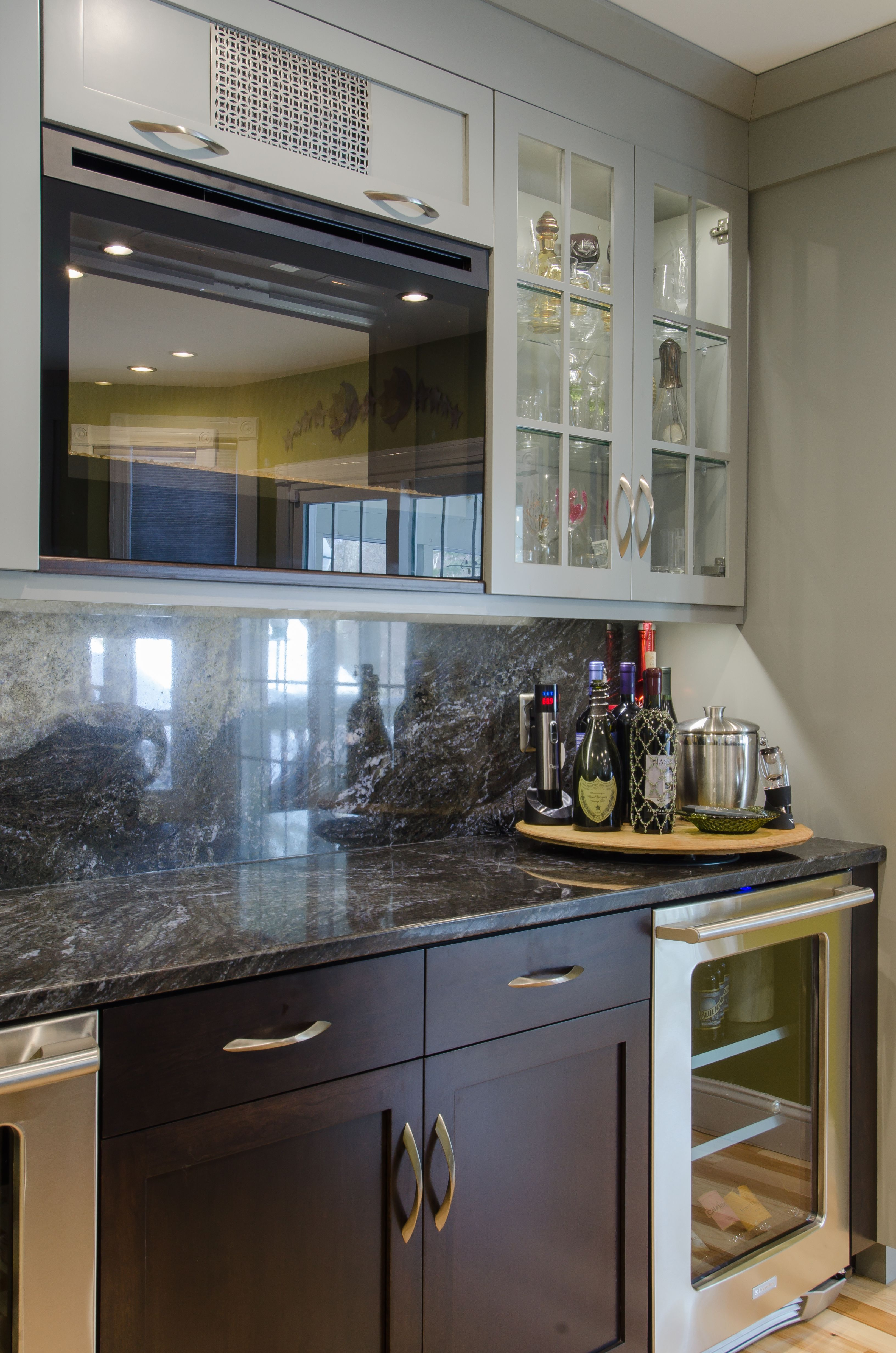 Bar  Built In Wine And Beverage Fridge, Glass Wall Cabinets To Display  Glasses,