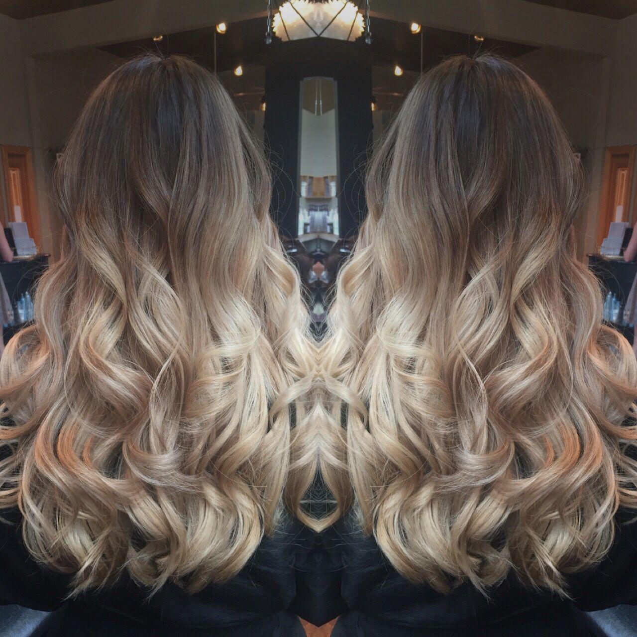 Balayage color melt ombré light brown to blonde ...