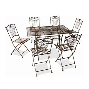 Marquee 7 Piece Rustic Iron Setting Bunnings Warehouse Outdoor