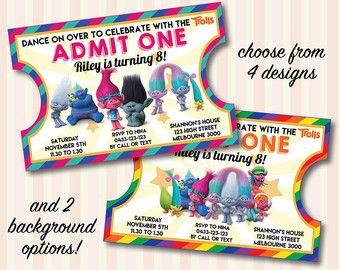 Trolls Invitation, FREE Thank You Card, New Trolls Movie, Movie Ticket  Invitation, Printable Digital File  Movie Ticket Invitations Printable Free