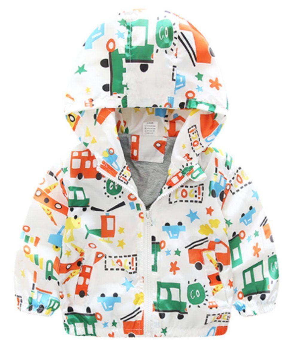 d617af7ef Kids Baby Boys Cartoon Car Print Hooded Coats Zipper Windproof Jackets  Raincoat size 4-5