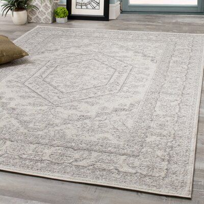 Bungalow Rose Vanille Elegant Faded Traditional Gray White Area Rug Rug Size Rectangle 7 10 X 10 6 In 2020 Grey And White Rug White Area Rug Traditional Area Rugs
