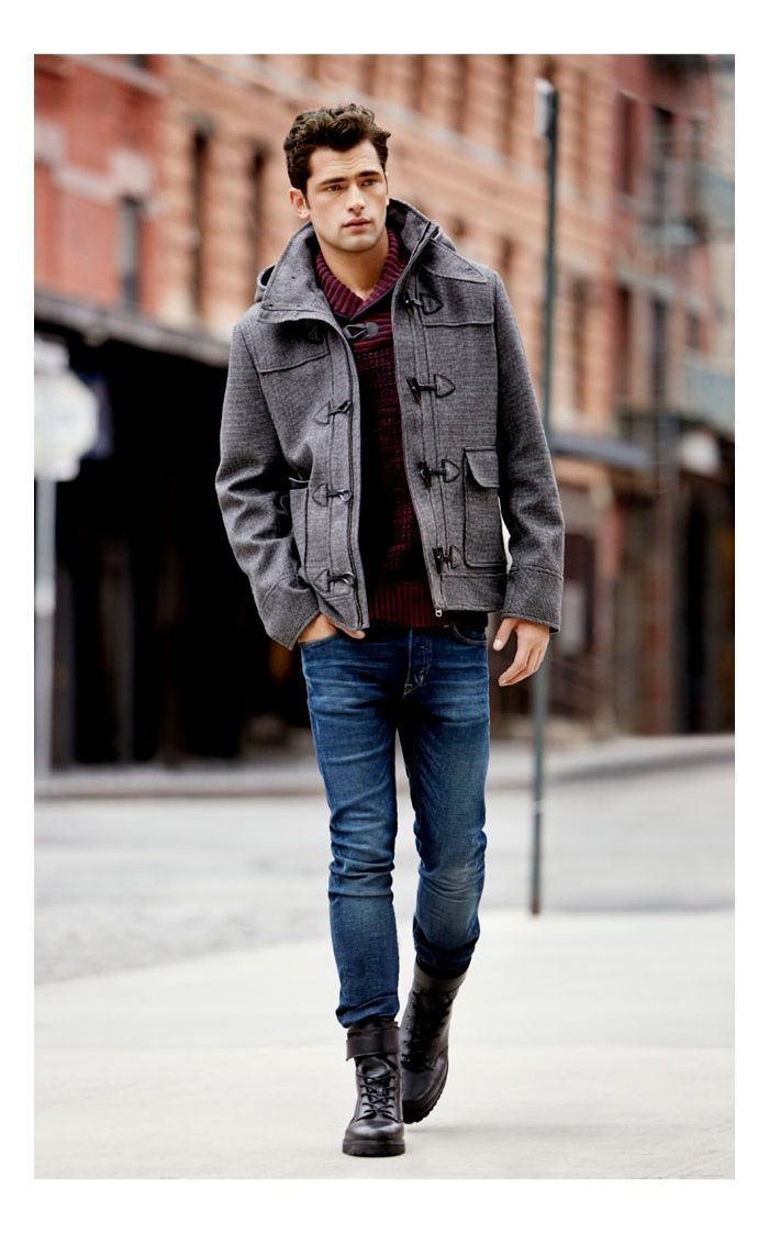 Men's Grey Duffle Coat, Burgundy Shawl Neck Sweater, Blue Jeans, Dark Brown  Leather Boots