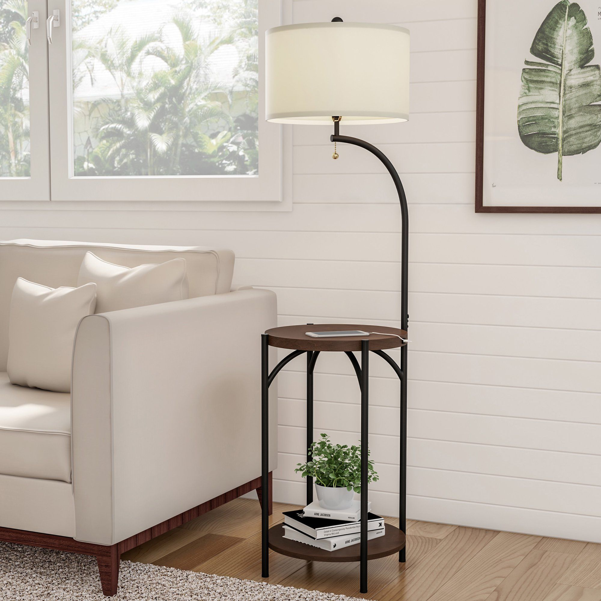 Floor Lamp End Table Modern Rustic Side Table With Drum Shaped Shade Led Light Bulb Included Usb Charging Port And Storage Shelf By Lavish Home Walmart Com White Floor Lamp Rustic