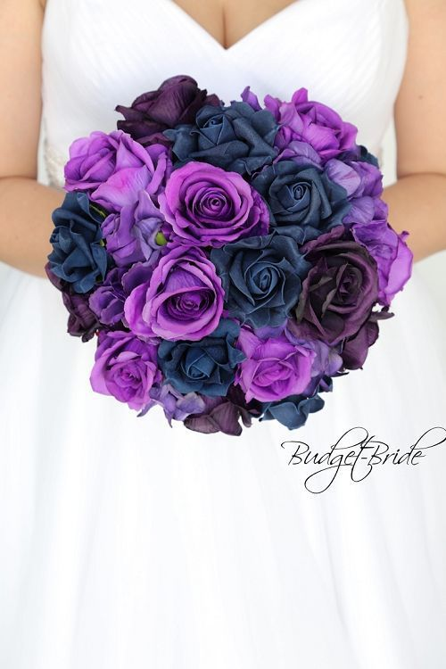 Purple, Plum and Navy blue brides bouquet for wedding #purpleweddingflowers