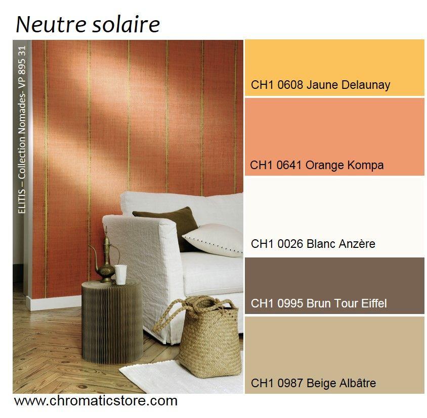 une palette de tons neutres naturels dop s par des orang s solaires pour une pi ce vivre. Black Bedroom Furniture Sets. Home Design Ideas