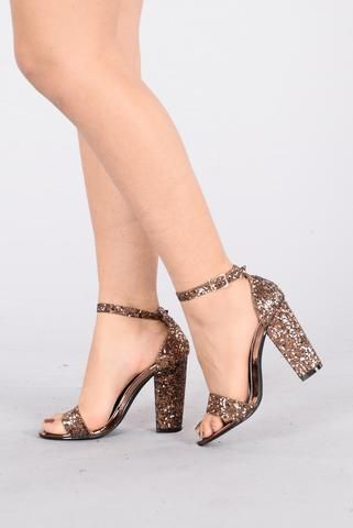 7dad183b442c3b Available in Wine and Bronze - Glitter Sandal Heel - Open Toe - Ankle Strap  Closure - 4 Inch Chunky Heel