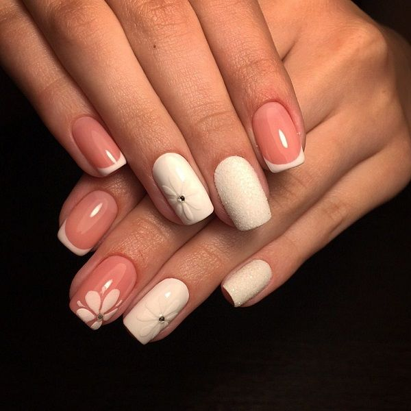 This cute White and Pink Nail Art. A classic nail art with exotic details is - 60 White Nail Art Designs Pink Nails, White Nails And Wedding