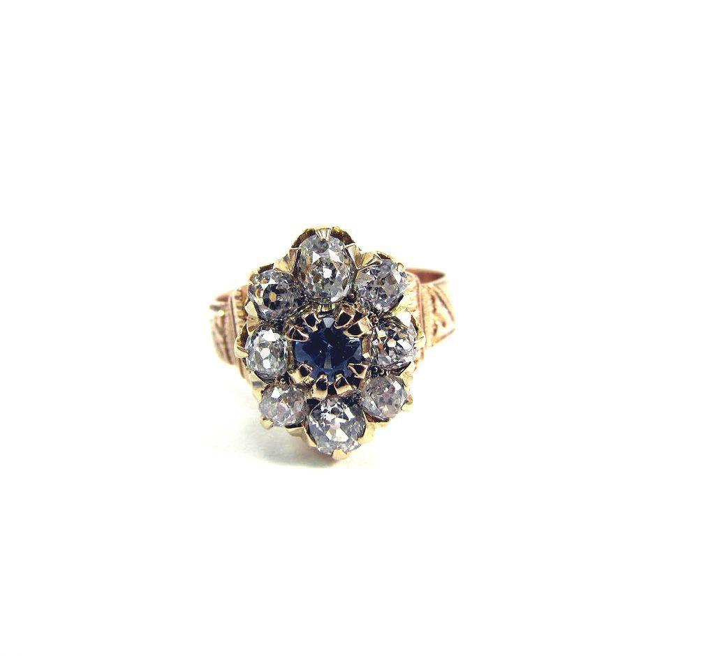SO REGAL Victorian 1.4 Ct. TW OMC Diamond/Sapphire/14k Cluster Ring, c.1875!