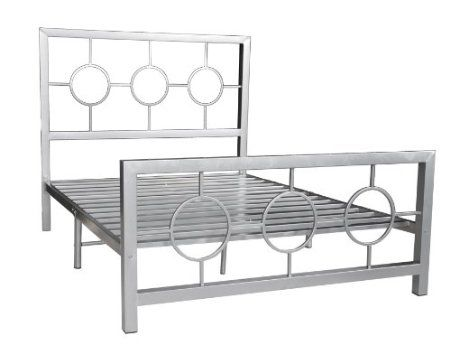 Full Metal Bed Frame with Decorative Headboard and Footboard, Silver ...