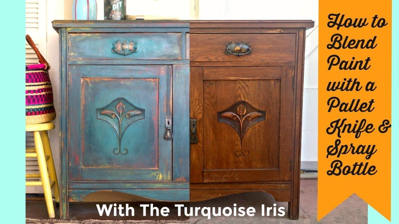 How To Paint And Layer Furniture With A Pallet Knife And Water With Dionne From The Turquoise Iris Yout Painted Furniture Painting Furniture Diy Diy Painting