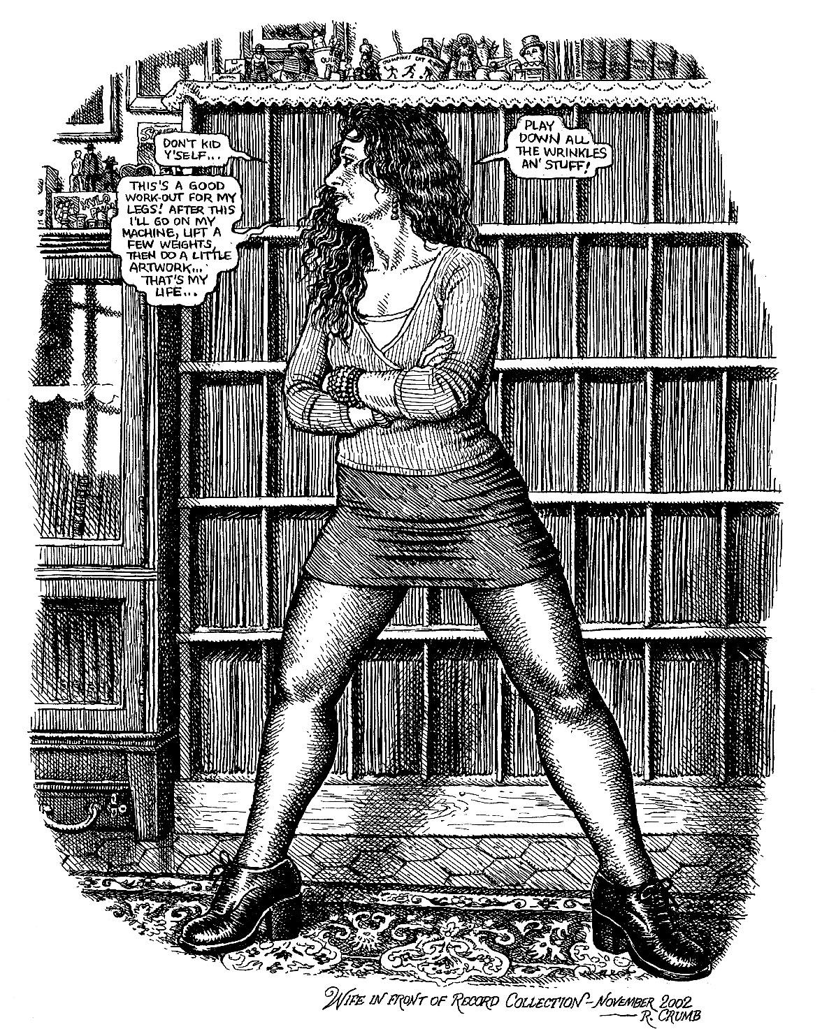 Robert Crumb's illustration of Aline Crumb while using his very own record collection as a background.