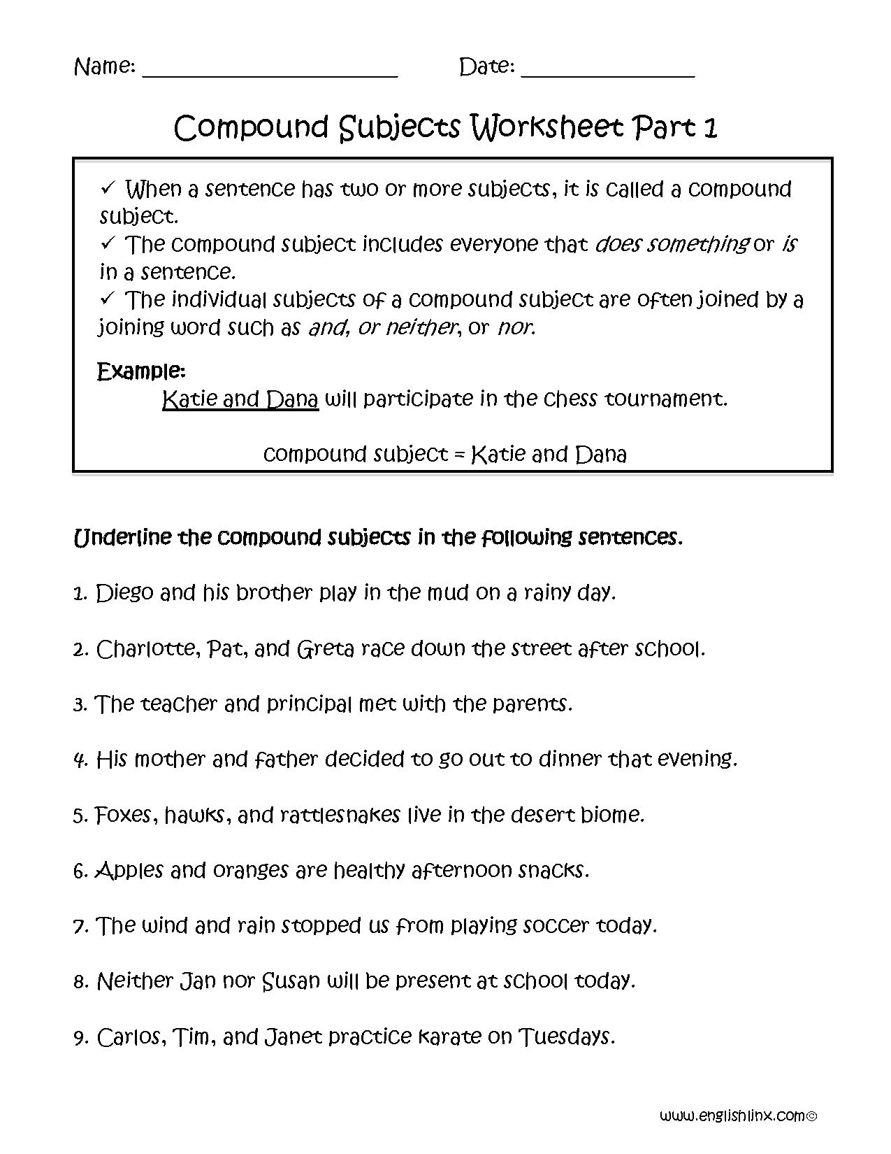 Uncategorized Compound Events Worksheet compound subject worksheet part 1 grammar pinterest 1