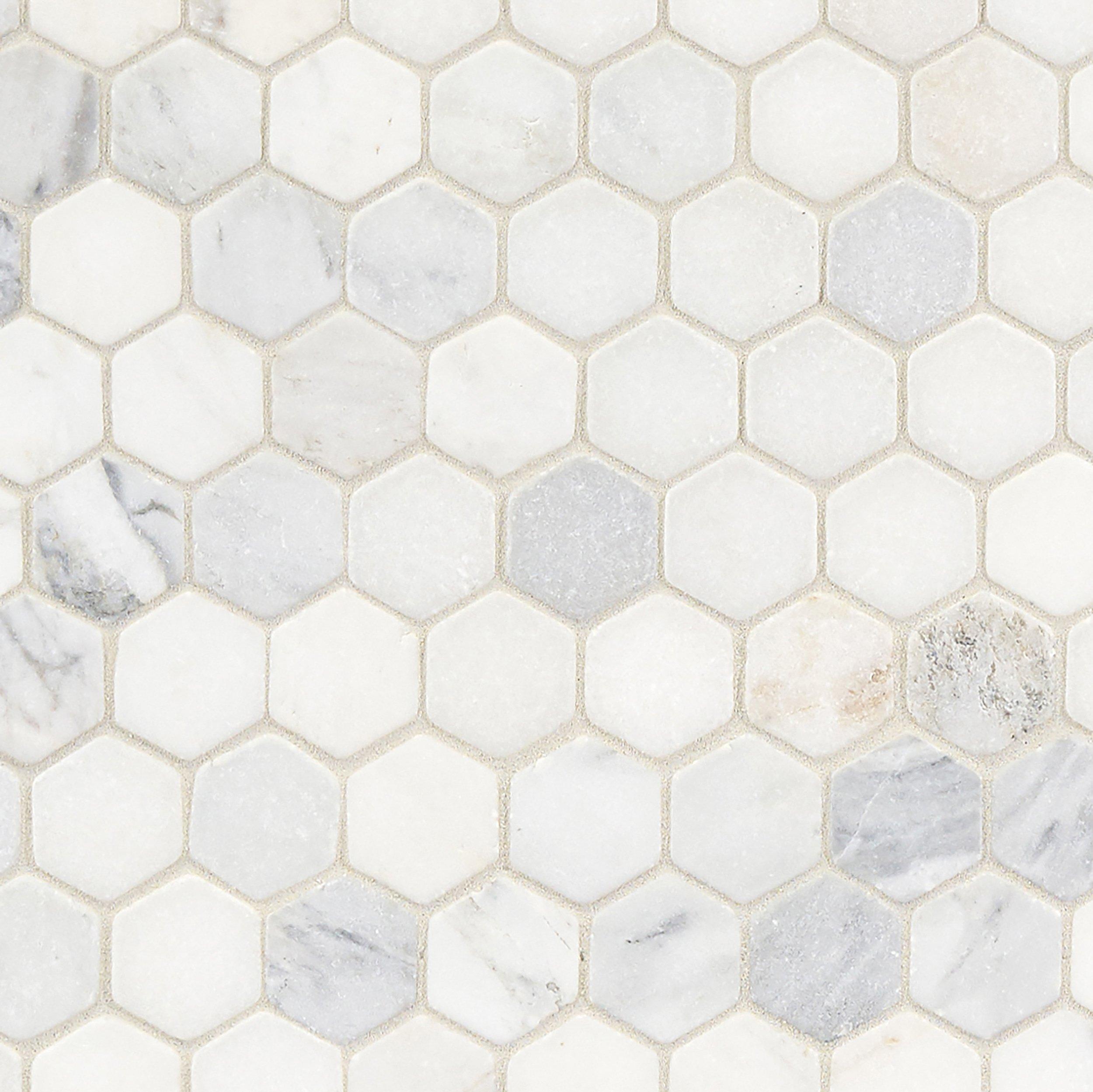 White Hexagon Tumbled Marble Mosaic Marble Mosaic Bathroom
