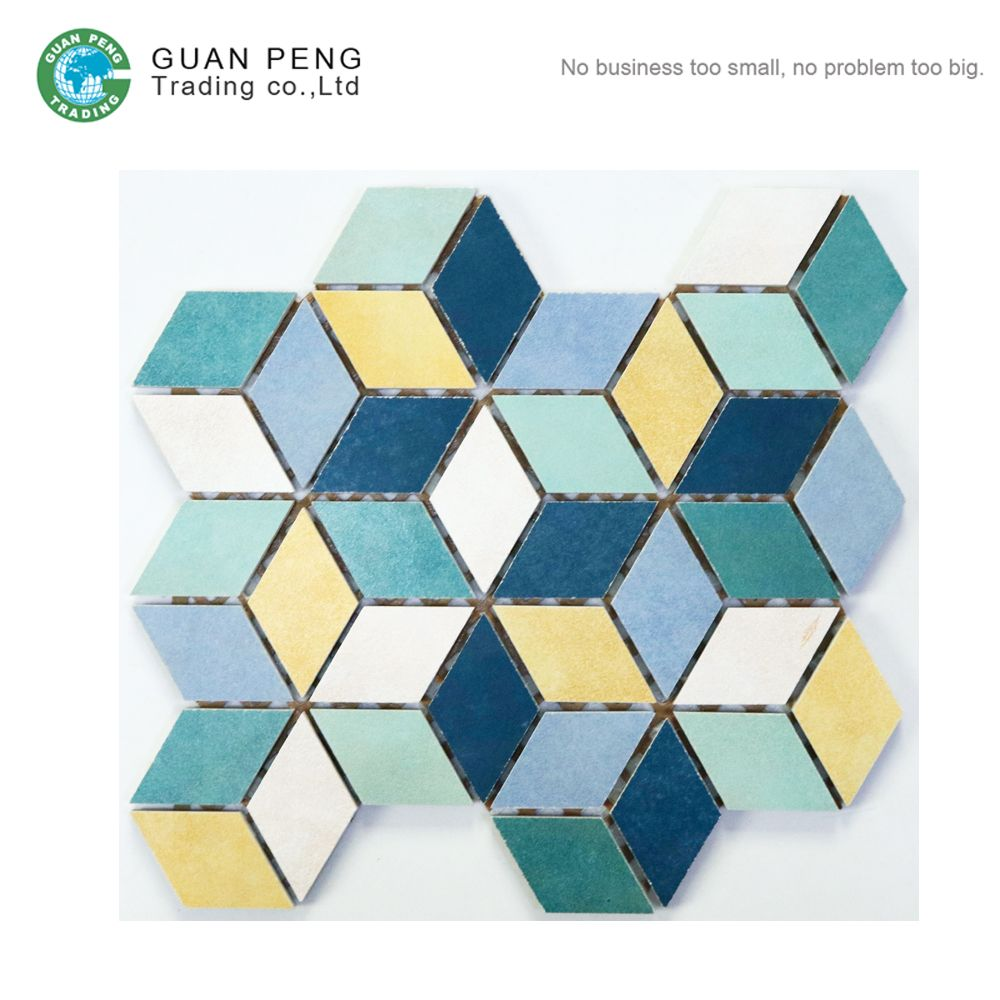 Porcelain Glazed Floor Mosaic Art Design Diamond Shaped Cube 3d ...