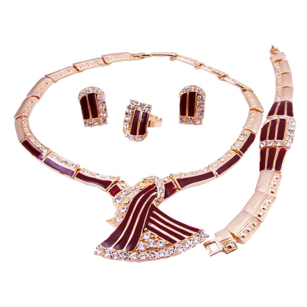 Hot selling african gold necklace earrings silver bracelet woman