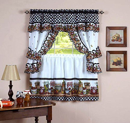 Naturally Home Mason Jars Kitchen Curtain Cottage Set Tiers And