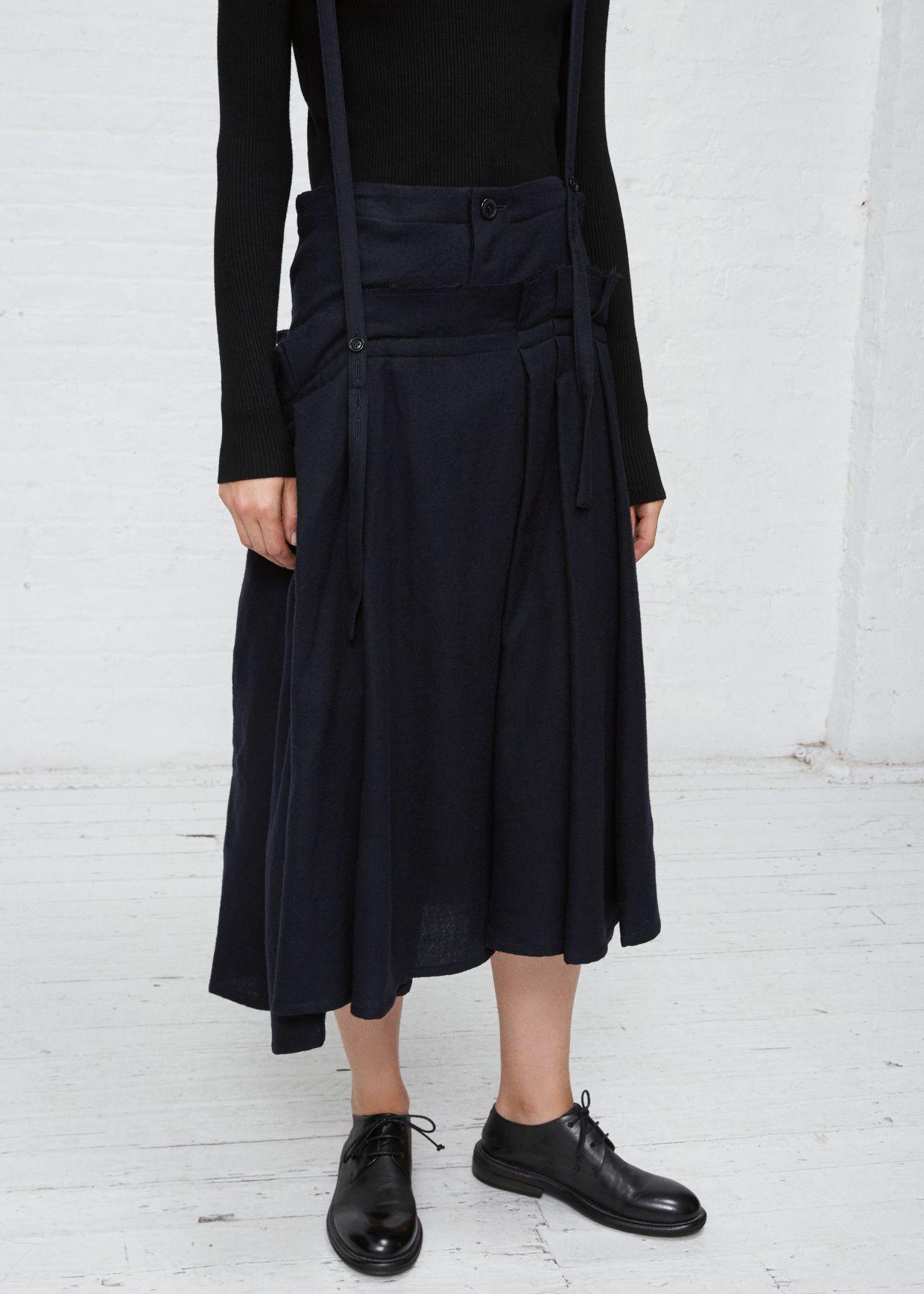 7bcfa03e7 Totokaelo - Y s by Yohji Yamamoto Navy Soft Pleats Suspender Skirt ...