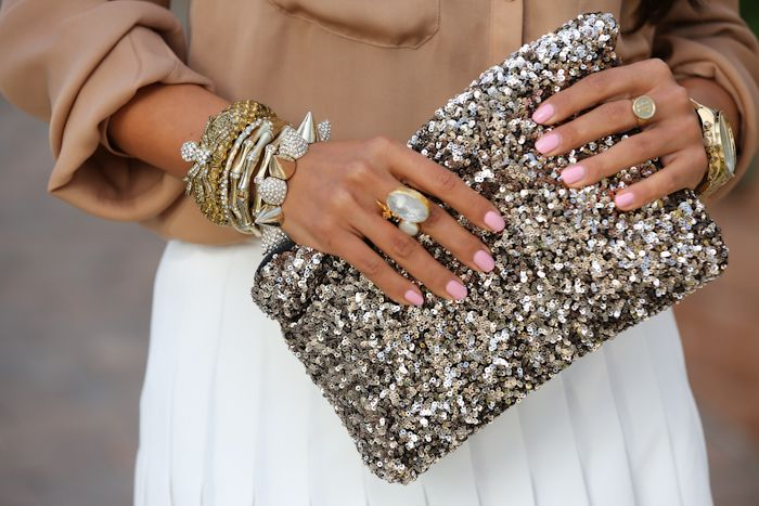 Glitter Clutch + Pink Manucure + Arm Candy