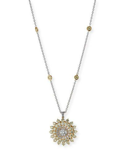 2e493508c442 LEO PIZZO PAV EACUTE  DIAMOND FLOWER PENDANT NECKLACE IN 18K GOLD.   leopizzo