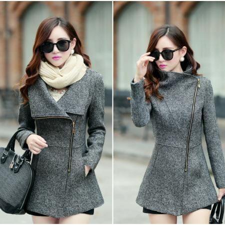 3924ec3e8ed8 Dark Grey Side Zipper Design Winter Coat on Luulla