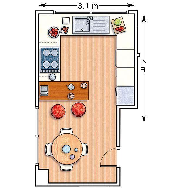 Doce cocinas con barra y sus planos house for Planos para fabricar una cocina cohete