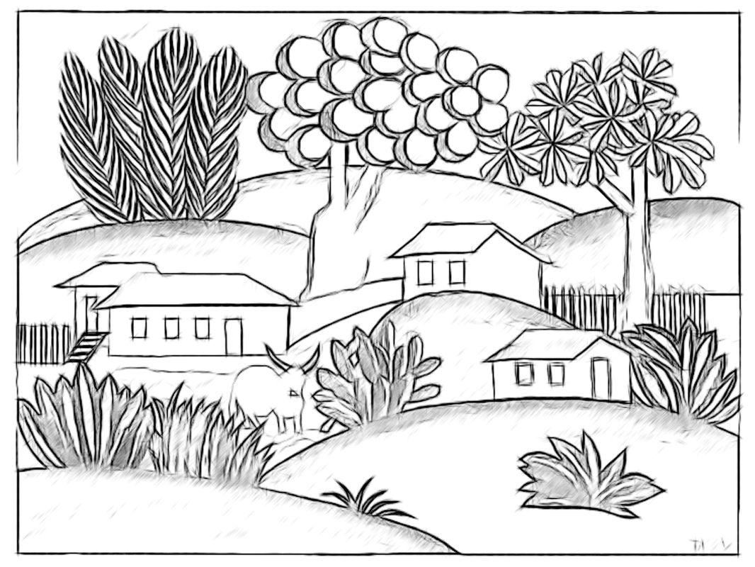 Obras De Tarsila Do Amaral Para Colorir Az Dibujos Colorear Sketch