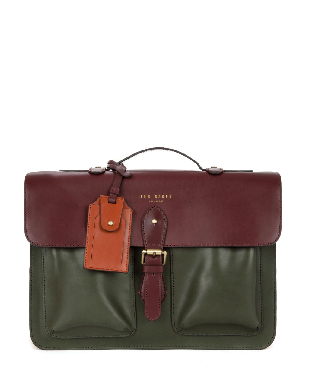 a1240c7b61d398 HARLEMM - Mixed leather satchel - Dark Red