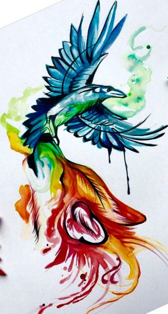 Raven Crow And Wolf Replace Bird With Moon Watercolor Fox Tattoos Raven And Wolf Raven Tattoo