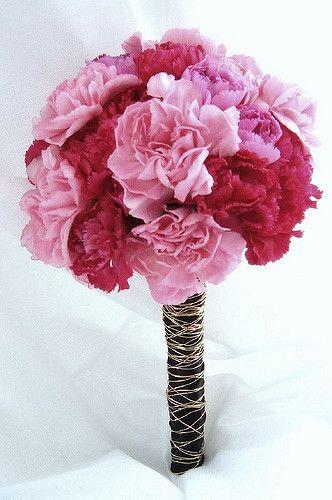 bouquet pink red carnation bukiet ślubny pinterest red