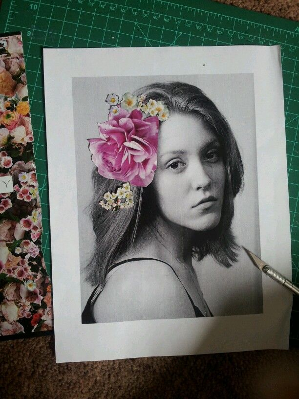 Self portrait with flower cut outs. Haven't been creative in a while, so this feels nice!