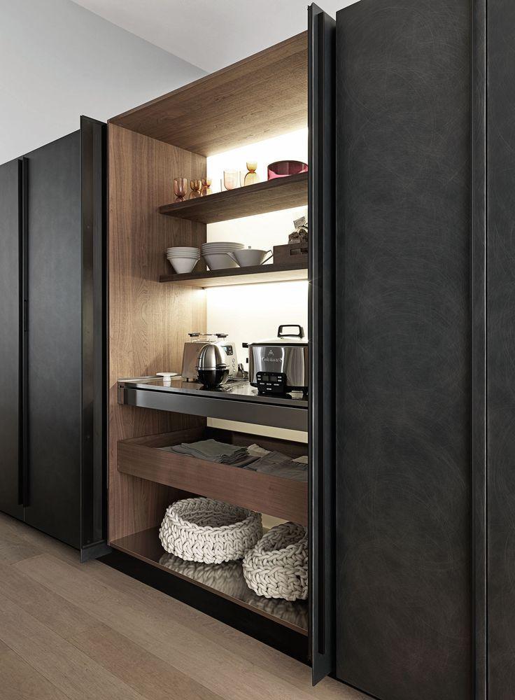 Armoire de rangement pour cuisine contemporain en bois - Refaire sa cuisine rustique en moderne ...